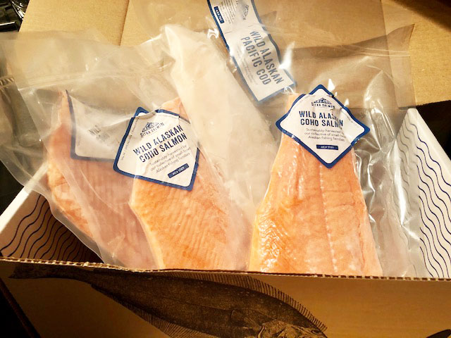 A sample of wild-caught Alaskan salmon and cod from Sitka Salmon Share.