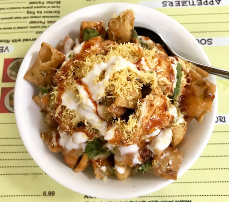 North Indian papri chaat from a shop in Jackson Heights, Queens