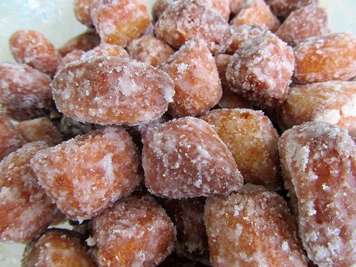 Cubes of sugared kurma, a Trindadian sweet