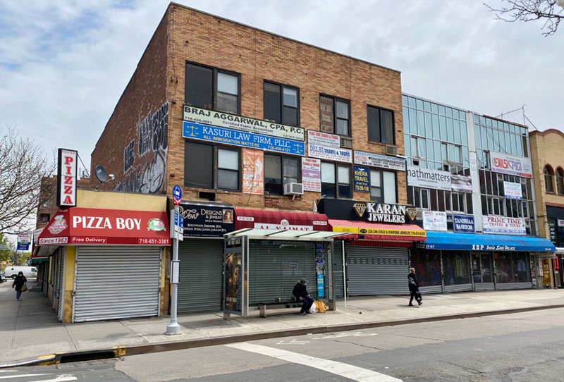 74th Street, Jackson Heights' Little India, is quiet and empty during the coronavirus pandemic.