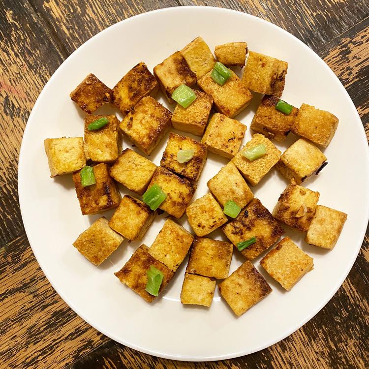 Crispy fried tofu that had been frozen