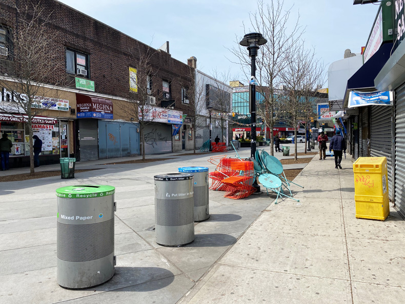 An empty pedestrian plaza in Jackson Heights, Queens, NYC, during the pandemic.