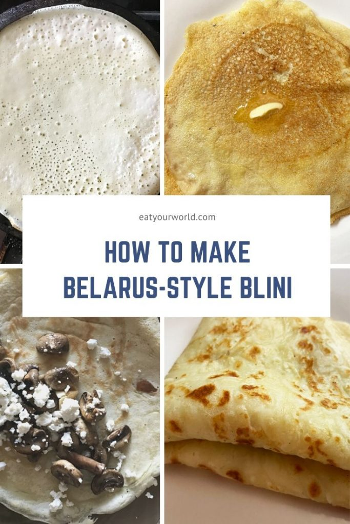 Stages of cooking and preparing Belarus-style blini