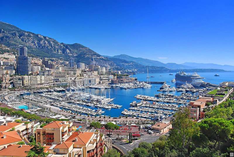 Port Hercules of Monaco with boats and cruise ship