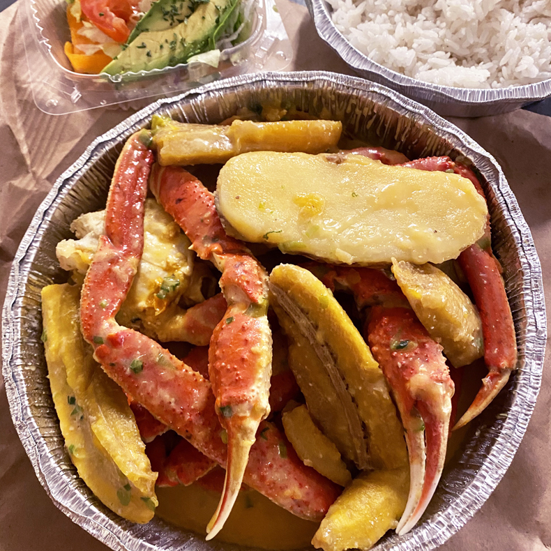 Colombian muelas de cangrejo (crab legs) from a Black-owned restaurant in Queens, NYC