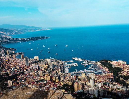 Wide-angle view of Montecarlo, Monaco, and the sea