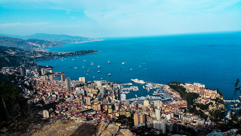 Wide-angle view of Montecarlo, Monaco, and the sea