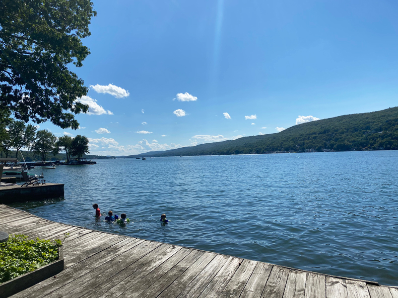 Kids swimming in Greenwood Lake