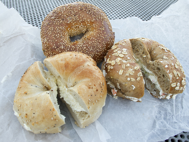 Classic NYC bagels with cream cheese