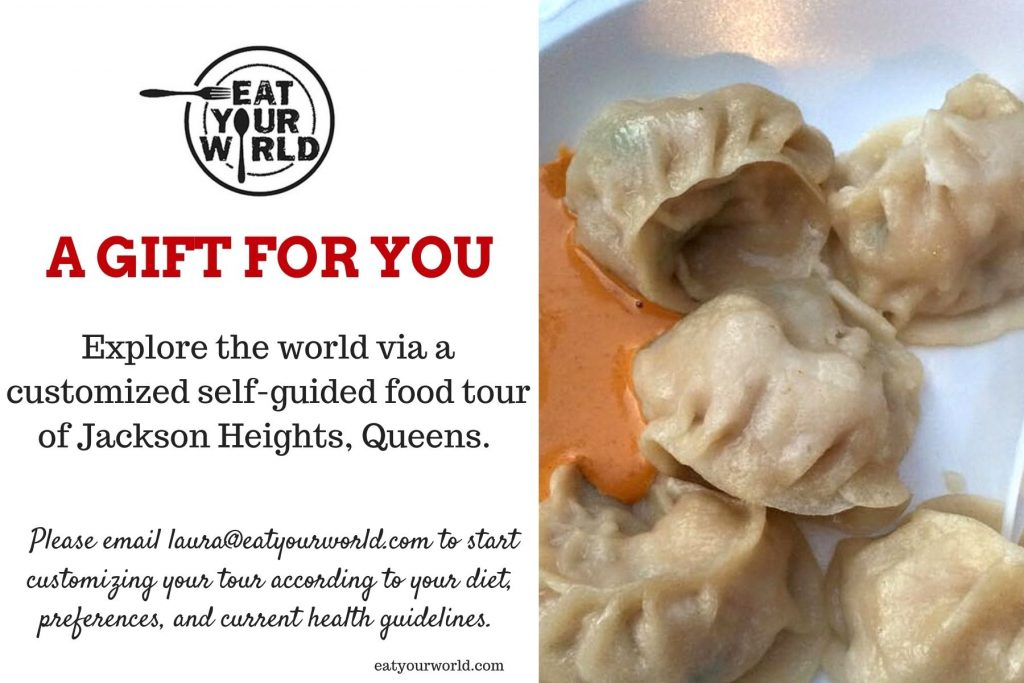 A gift certificate for a self-guided food tour of Jackson Heights, Queens
