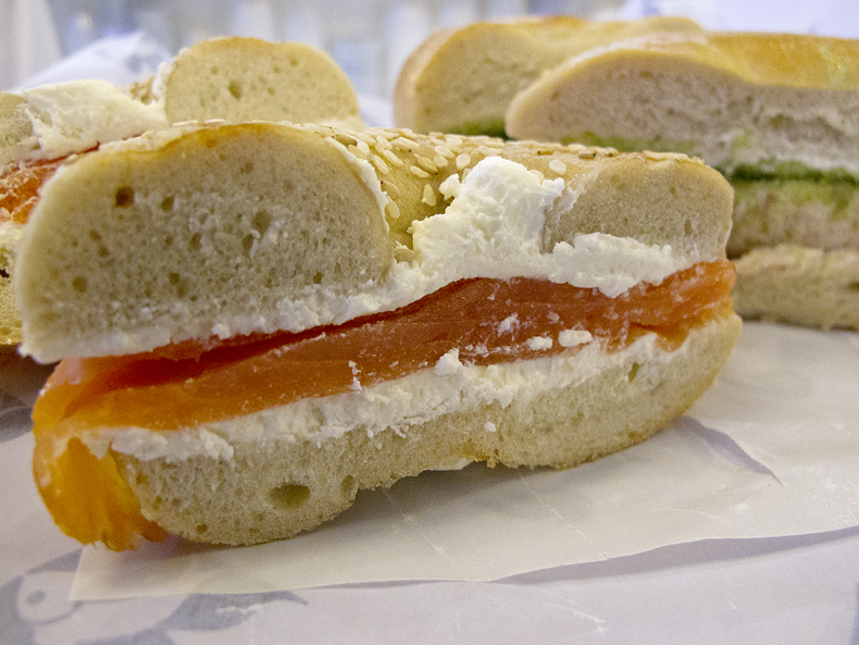 Smoked salmon on a bagel from Russ & Daughters with cream cheese
