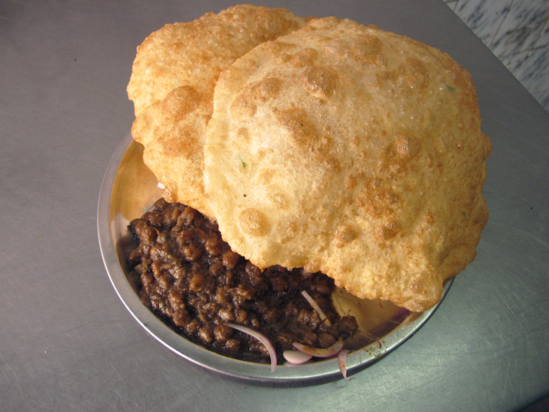 Chole bhature (chickpea curry with a regional Indian fried bread) from New Delhi, India