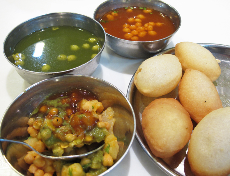 Gol gappa or pani puri in New Delhi, India