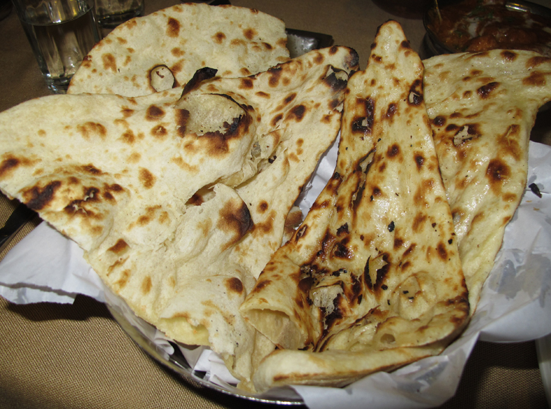 A basket of naan from a New Delhi restaurant
