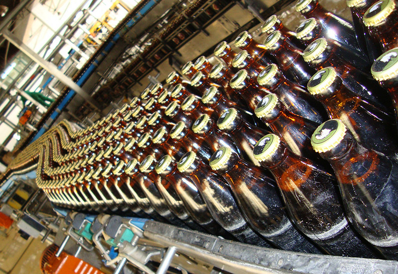 Assembly line in Tanzania for Eagle brand beer, a sorghum-based lager beer