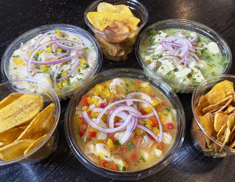 Three types of homemade ceviche plus plantain chips from home-based chefs Ceviche Fussion in Queens