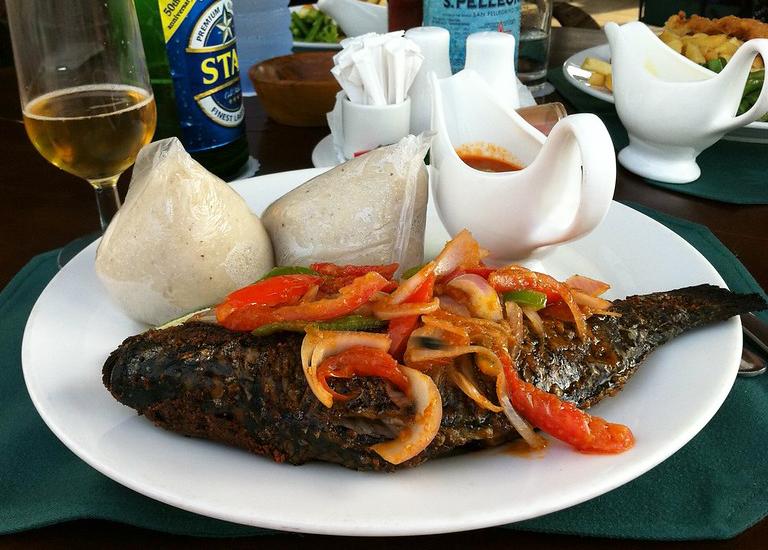 Banku and tilapia in Ghana