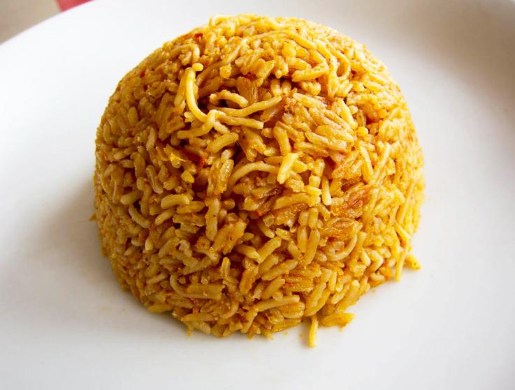 Jollof rice, a typical one-pot rice dish in Ghana