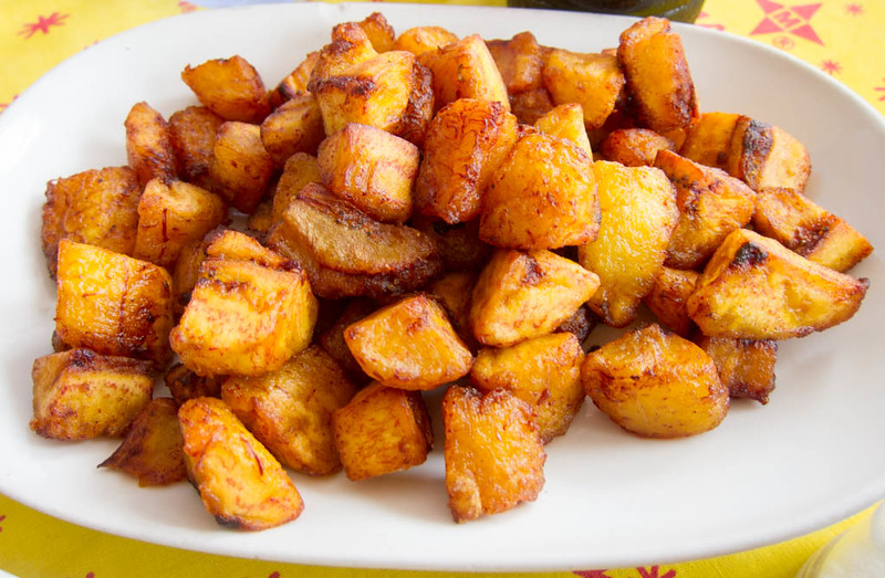 Kelewele is a typical Ghanaian street food of fried plantains.