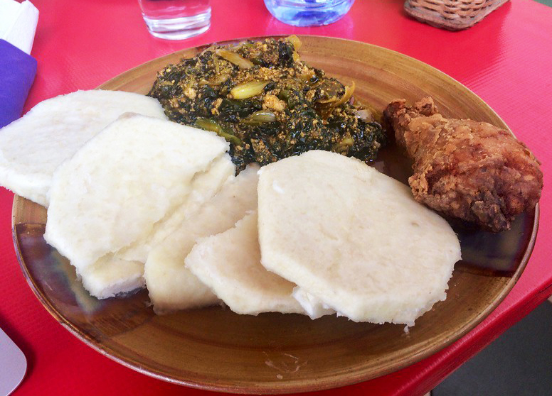 Yam and kontomire, a typical Ghanaian dish