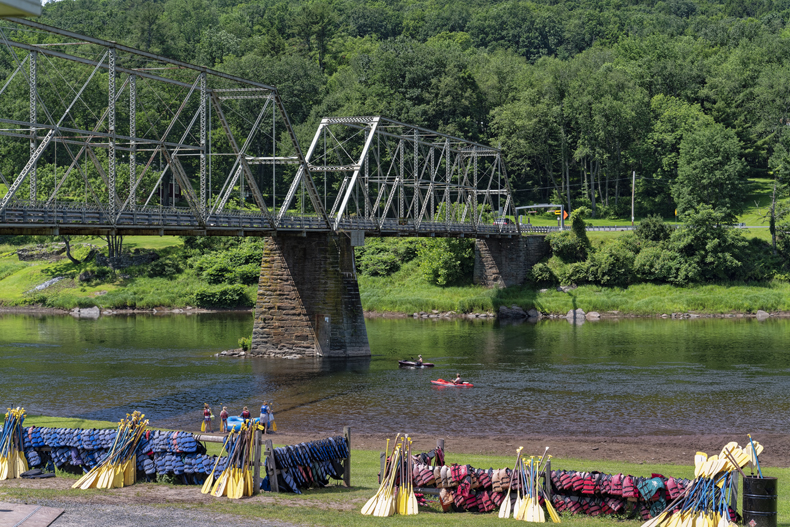 A view of the kayak and canoe launch site at Skinners Falls on the Delaware River in Narrowsburg, NY
