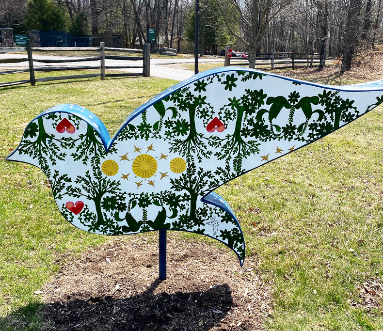 A hand-painted Sullivan Catskills dove at Bethel Center for the Arts in Bethel, NY