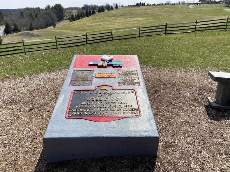 The Woodstock monument at the original Woodstock site in Bethel, NY