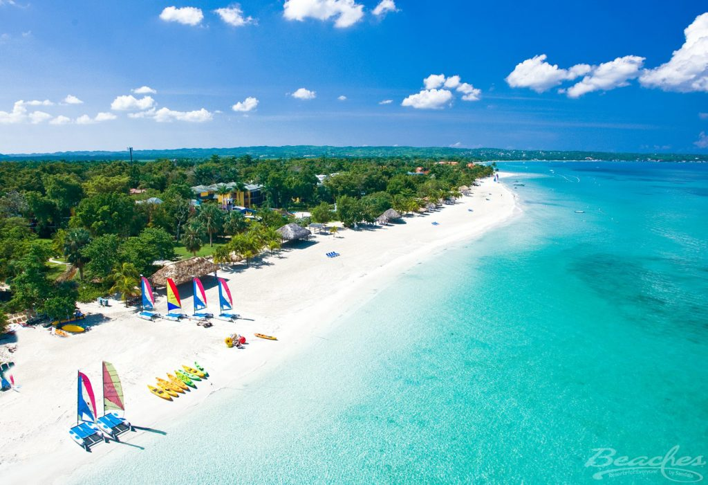 The white sand and turquoise sea of Beaches Negril, in Jamaica.