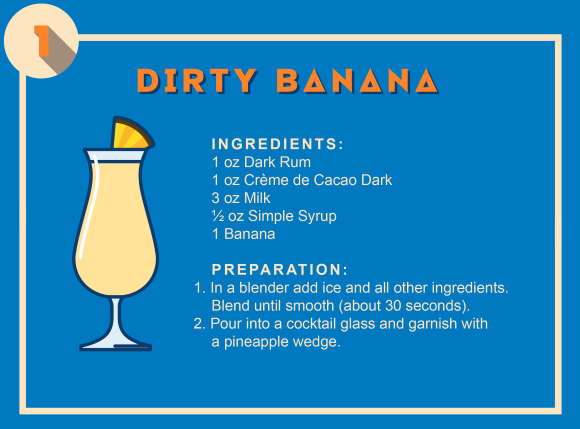 The recipe for the Dirty Banana tropical cocktail