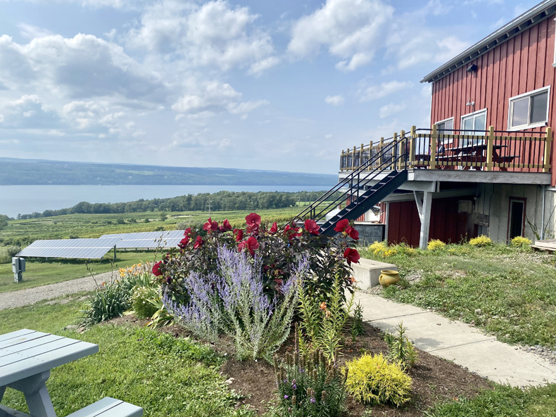 View of Seneca Lake from a brewery in the Finger Lakes, New York