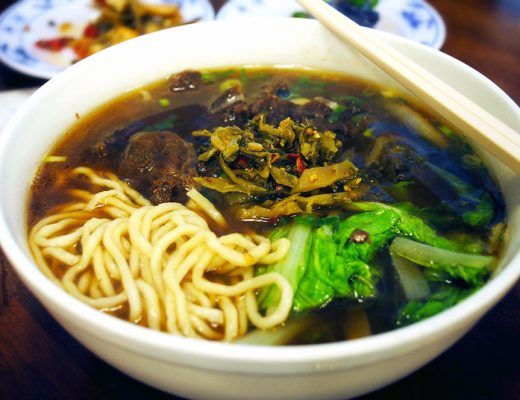 A bowl of Taiwanese beef noodle soup in Taipei