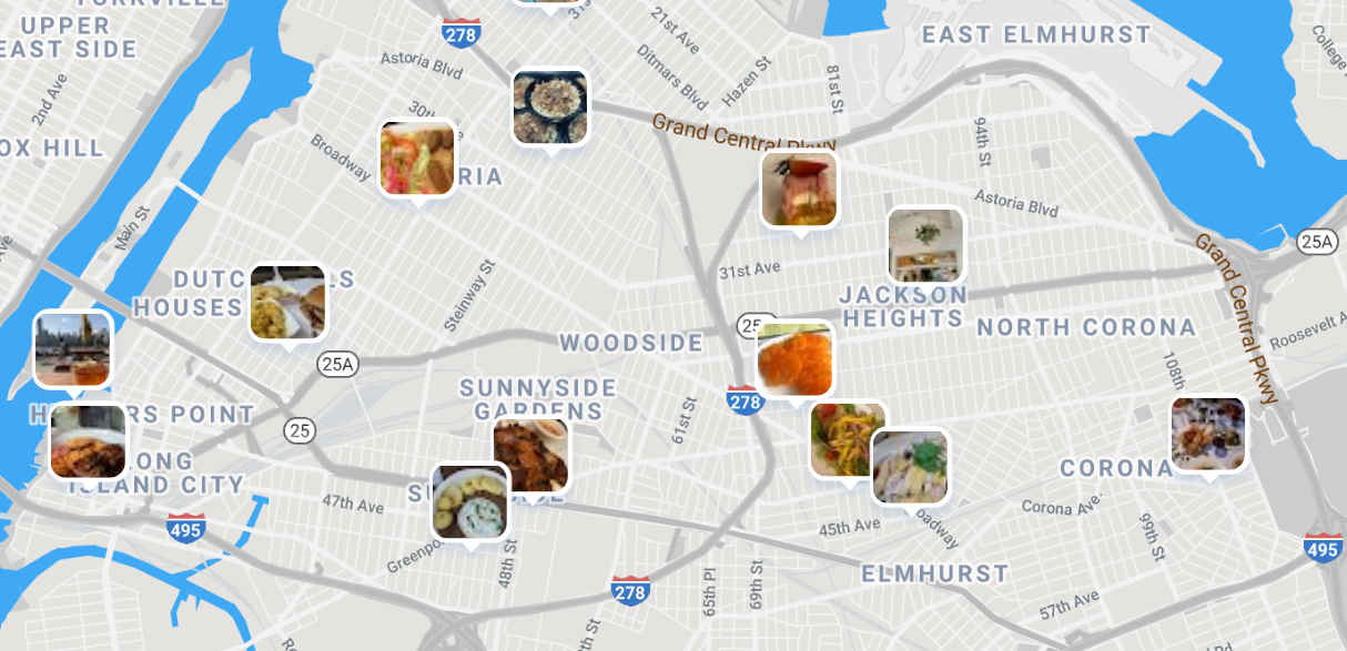 Where to eat in Queens on a new map