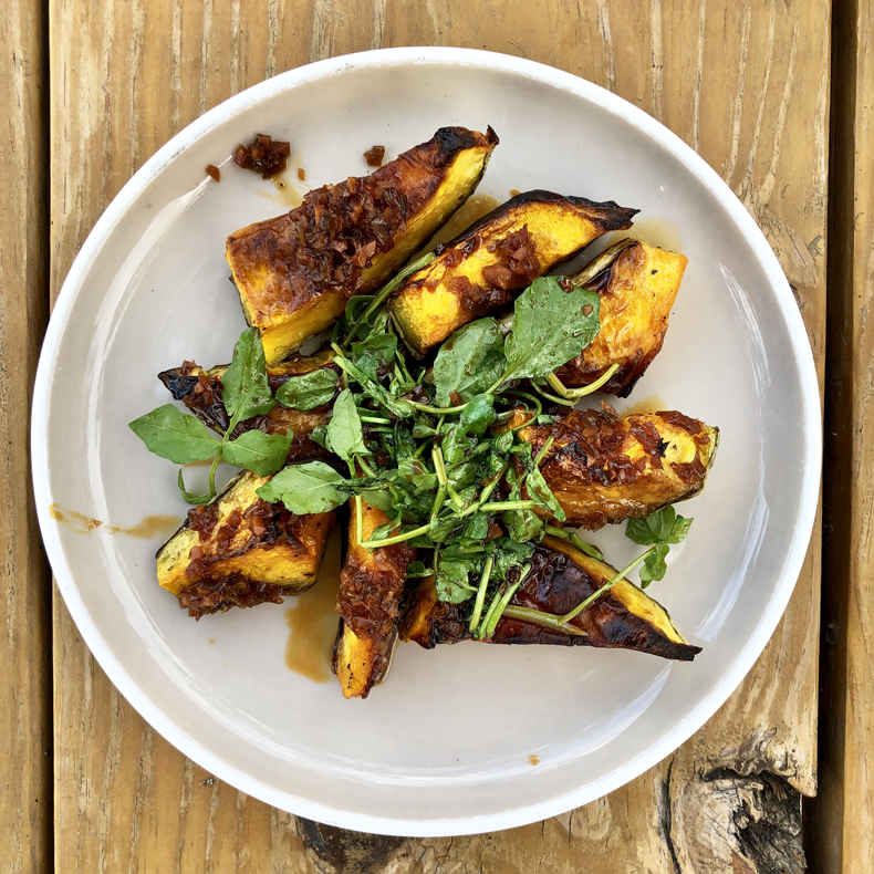 A fall dish of roasted squash from the Laundrette restaurant in the Sullivan Catskills, New York