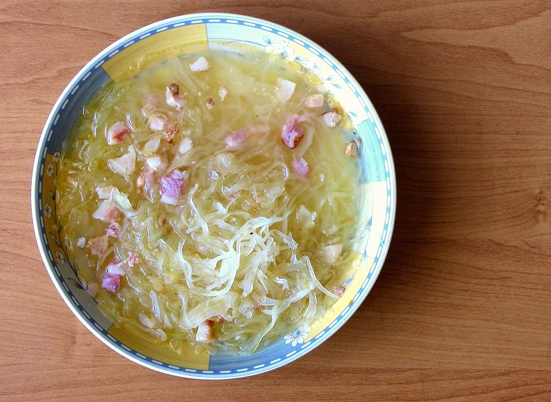 Polish cabbage and sauerkraut soup, called kapusniak and kwasnica