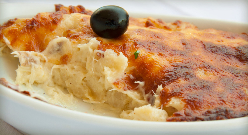 Bacalhau com natas, a codfish dish in Lisbon, Portugal
