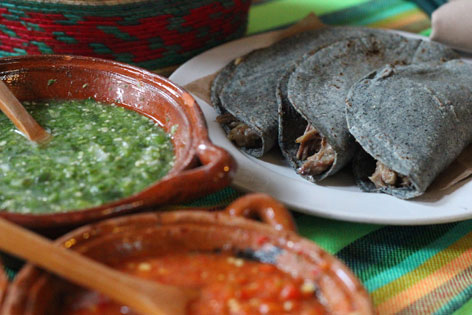 Barbacoa tacos and sauce, from a Mexico City restaurant