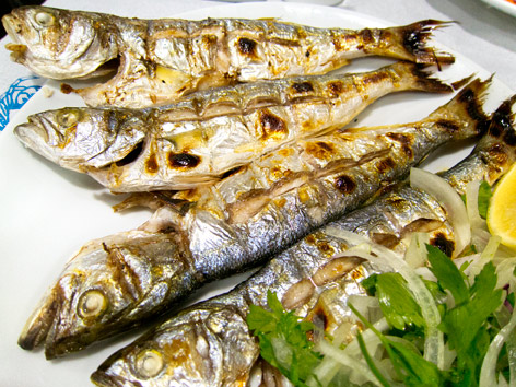 Grilled cinekop, or blue fish, in Sinop, Turkey