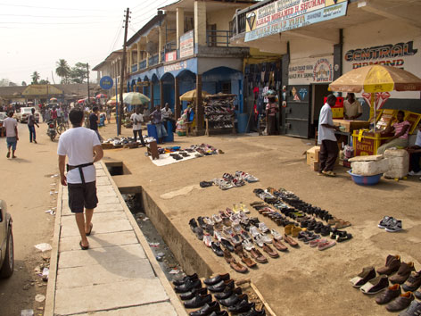 Street scene and diamond shop in Bo, Sierra Leone