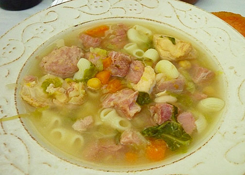 Escudella, a traditional stew and national dish from Andorra