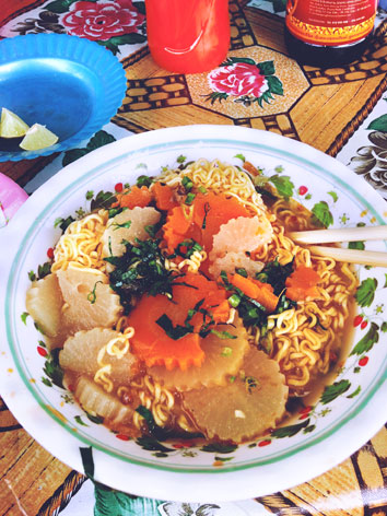 Mee sop, a ramen noodle soup from Cambodia