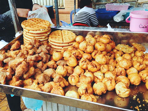 Pastries from a market vendor in Cambodia