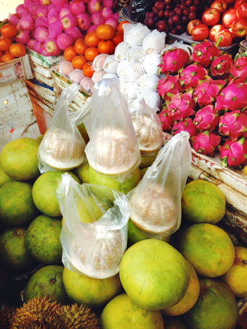 Pomelo and dragonfruit from a market in Cambodia
