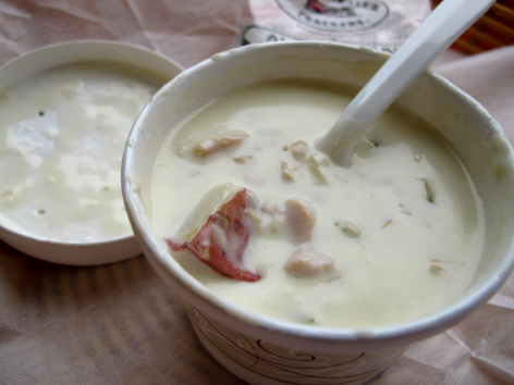 Chunky potato and clam chowder from Cape Cod Bagel Company in Falmouth, MA