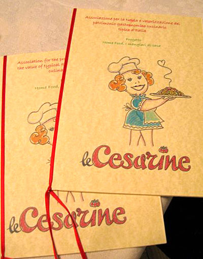Cesarine menu in Milan.