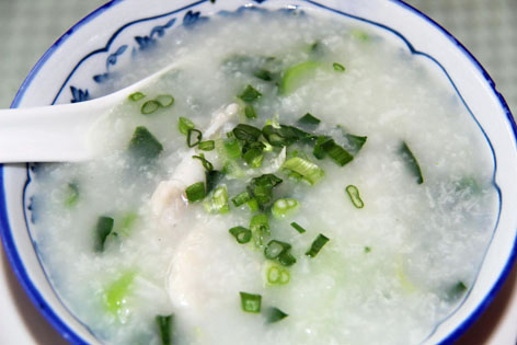 Congee, a rice porridge from Hong Kong