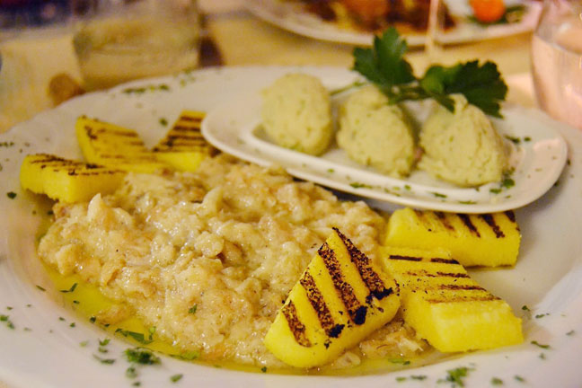 Baccala mantecato, dried cod mousse over polenta, a Venetian dish