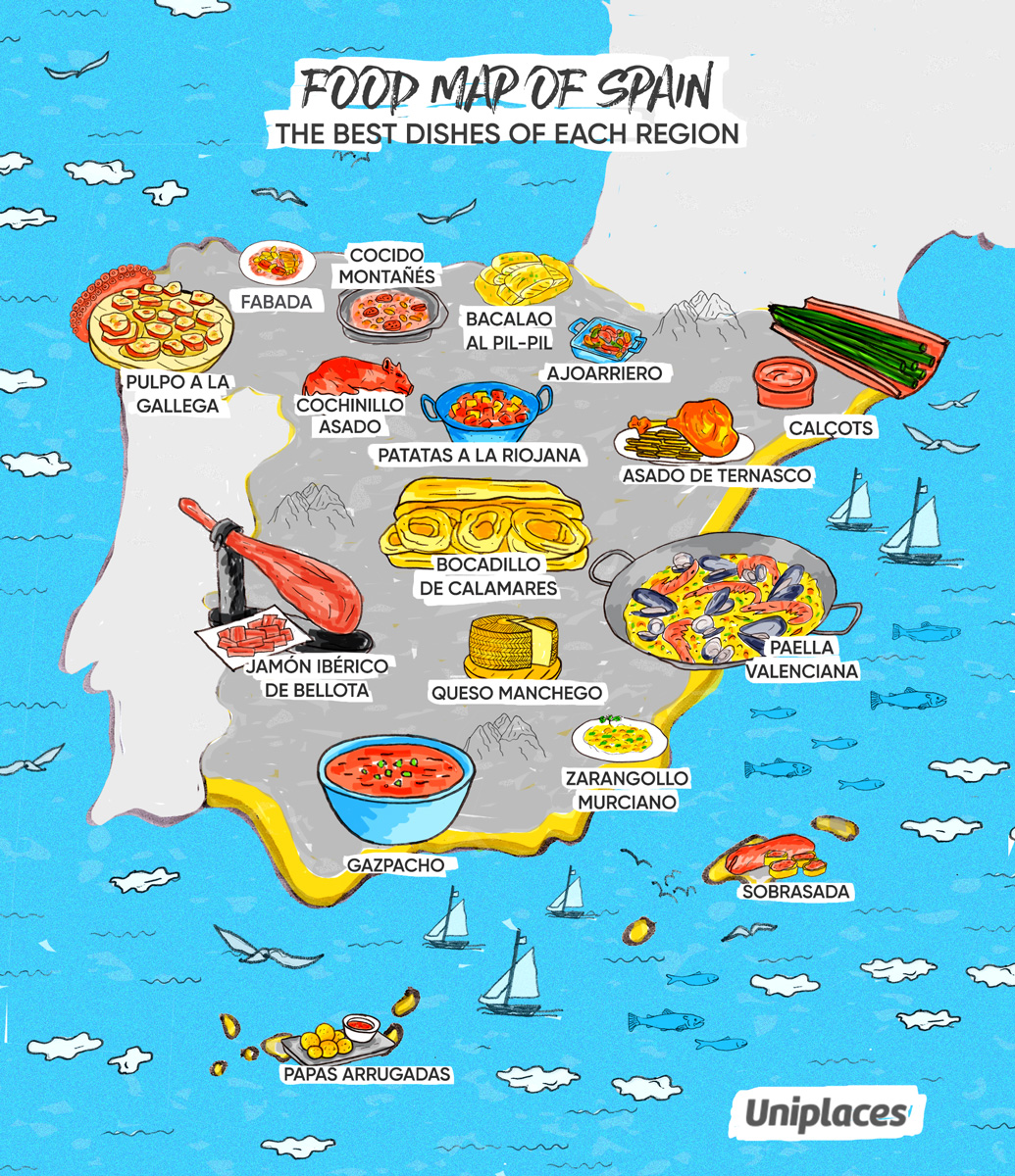 regional food map infographic of spain. infographic regional food maps of europe  eat your world blog