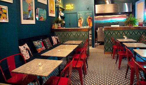 Interior shot of Holy Phok, a Vietnamese restaurant in Brighton, UK