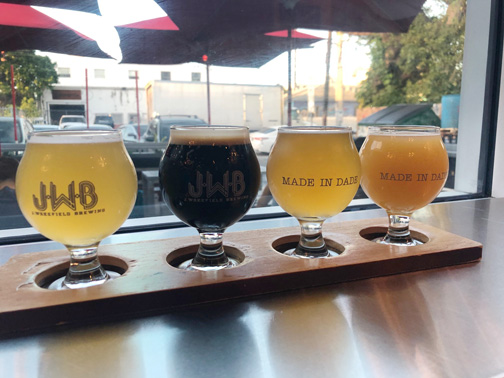 A sampler of four local beers from J Wakefield Brewery in Wynwood, Miami, Florida.