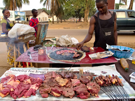 Food vendor in Kenema, Sierra Leone